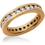 Eternity ring i rödguld med runda, briljantslipade diamanter (ca 1.25ct)
