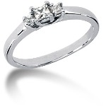 Trestensring i platina med  diamanter (0.25ct)