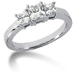 Trestensring i platina med  diamanter (1ct)