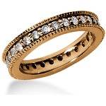 Eternity ring i rödguld med runda, briljantslipade diamanter (ca 0.84ct)
