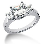 Trestensring i platina med  diamanter (2ct)