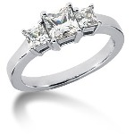 Trestensring i platina med  diamanter (1.25ct)