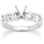 Sidostensring i platina med 4st diamanter (1.2ct)