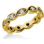 Eternity ring i gult guld med runda, briljantslipade diamanter (ca 0.44ct)