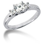 Trestensring i platina med  diamanter (0.7ct)