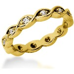 Eternity ring i gult guld med runda, briljantslipade diamanter (ca 0.24ct)
