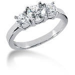 Trestensring i platina med  diamanter (1.35ct)
