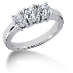 Trestensring i platina med  diamanter (1.05ct)