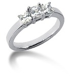 Trestensring i platina med  diamanter (0.83ct)