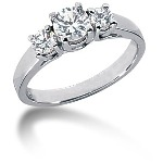 Trestensring i platina med  diamanter (0.8ct)