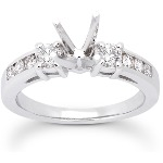 Sidostensring i platina med 8st diamanter (0.48ct)
